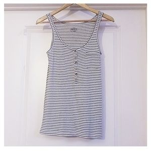 J.Crew Women's Large Gray Stripe Perfect Fit Tank